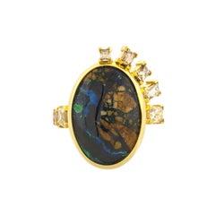 Mociun Azurite Malachite and Diamond Ring