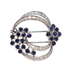 2.00 Carat Blue Sapphire and 0.45 Carat Diamonds White Gold Brooche