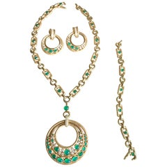 Mauboussin Necklace and Earrings Gold, Diamonds and Chrysoprase Transformable