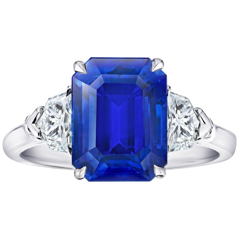 6.30 Carat Emerald Cut Blue Sapphire and Diamond Ring For Sale