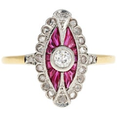 Edwardian French Ruby Rose Cut and Old European Cut Diamond Ring