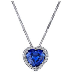 1.71 Carat Blue Heart Shape Sapphire and Diamond Pendant