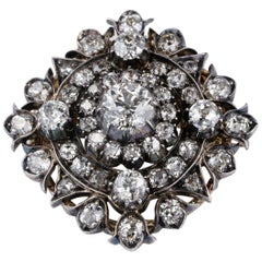 5.85 Carat Old Cut Diamond Rare Brooch Pendant