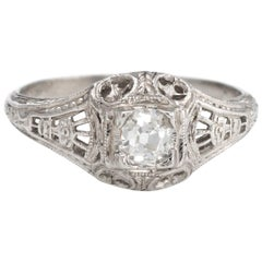 Antique Deco Diamond Ring Platinum Filigree Engagement Vintage Fine Jewelry
