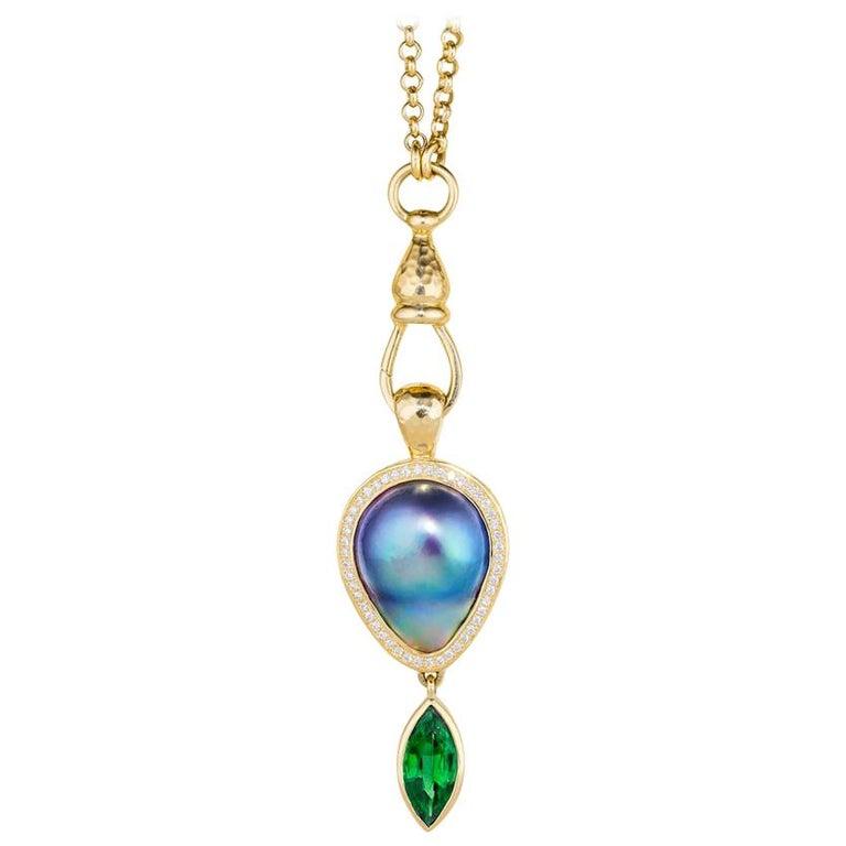 Sea of Cortez Pearl, Diamond and Tsavorite Pendant Necklace For Sale