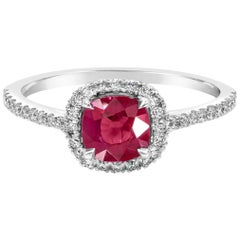 Cushion Cut Ruby and Diamond Halo Engagement Ring