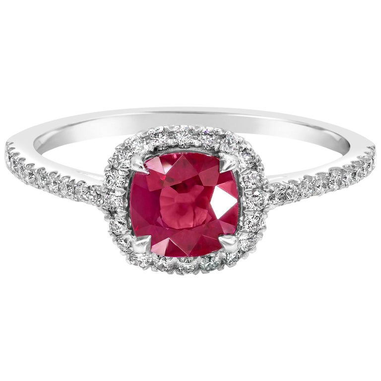 Cushion Cut Ruby and Diamond Halo Engagement Ring For Sale