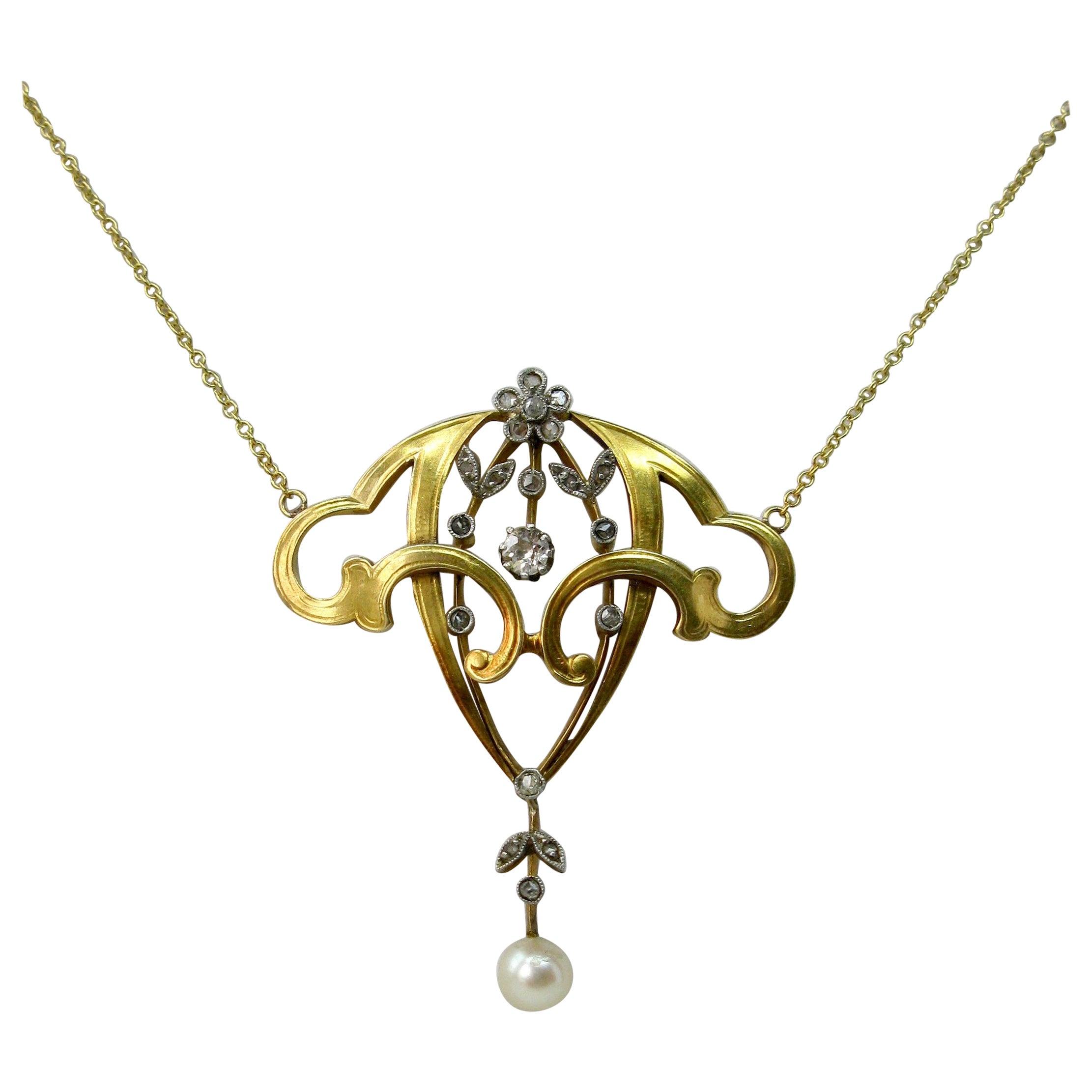 Art Nouveau Diamond Platinum Pearl Flower Necklace Belle Époque Pendant