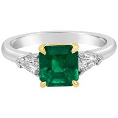 C. Dunaigre Certified Emerald and Diamond Three-Stone Engagement Ring