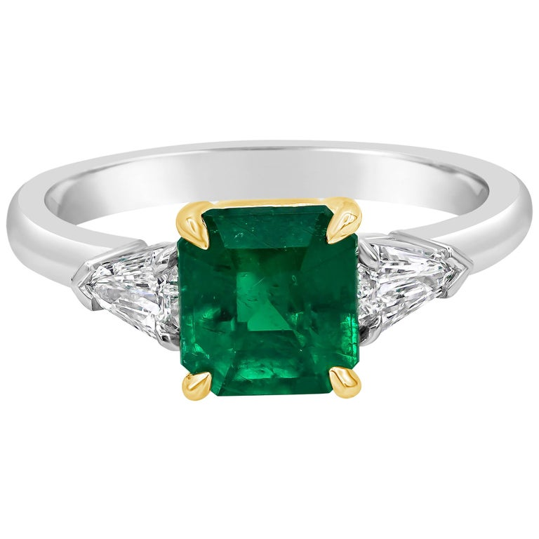 C. Dunaigre Certified Emerald and Diamond Three-Stone Engagement Ring For Sale