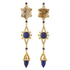 Mociun Agate Hexagons Drop Earrings