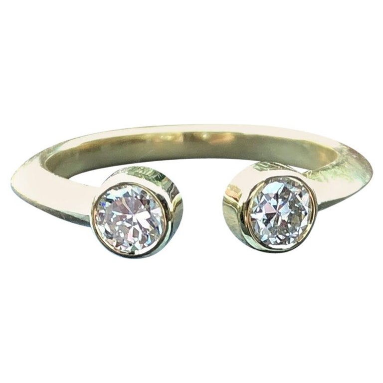 Old European Diamond and 18 Karat Gold Engagement Ring For Sale