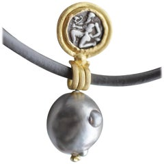 Greek Antique Silver Coin Tahitian Pearl 22k-21k Gold Pendant Chocker Necklace