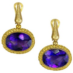 Amethyst Sapphire Gold Drop Textured Earrings One of a Kind