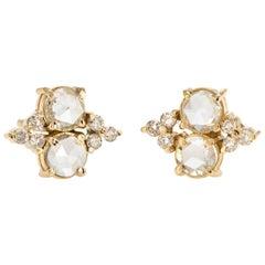 Estate 1.44 Carat Diamond Stud Earrings Rose Cut 14 Karat Gold Fine Jewelry