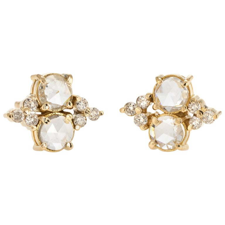 Estate 1.44 Carat Diamond Stud Earrings Rose Cut 14 Karat Gold Fine Jewelry For Sale
