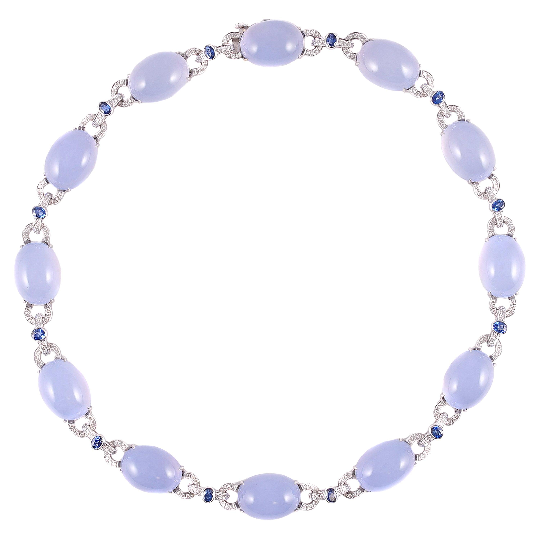 163.52 Carat Chalcedony 2.92 Carat Sapphire Diamond Necklace