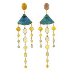 Mociun Ethiopian Opal and Chrysocolla Earrings