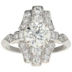 Art Deco 1.80 Carat Old European Cut Diamond Cocktail Ring