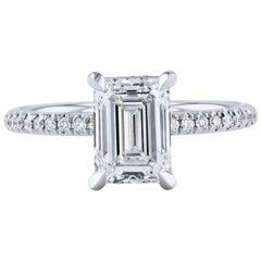 H&H 2.01 Carat Emerald Cut Diamond Ring