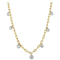 1.86 Total Carat Weight Rose Nouveau Diamond and 18 Karat Gold Choker Necklace