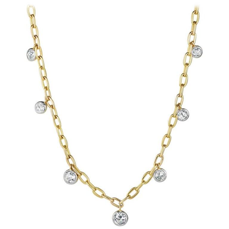 1.86 Total Carat Weight Rose Nouveau Diamond and 18 Karat Gold Choker Necklace For Sale