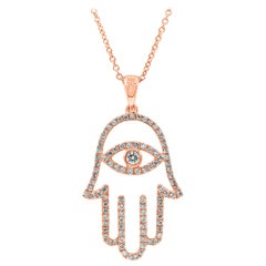 Open-Work Diamond Hamsa Pendant Necklace
