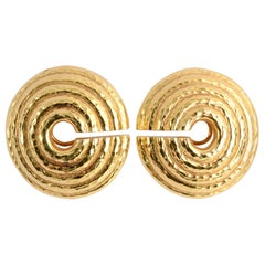 David Webb Large Hammered Gold Circular Earrings