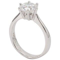 18 Karat White Gold Diamond Solitaire Engagement Ring 1.56ct Round Diamond