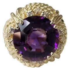 Amethyst and Diamond 14 Karat Ring