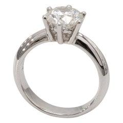 18 Karat White Gold Diamond Solitaire Engagement Ring 2.07ct Round Diamond