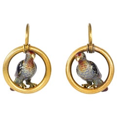 Pair of Enamel and Gold Bird Earrings