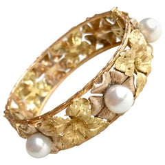 Buccellati Bracelet Three Golds, Yellow Gold, White Gold, Pink Gold Leafs Pearls