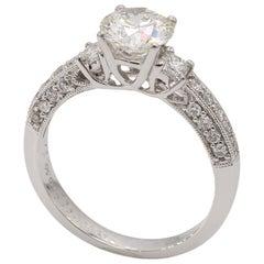 Vintage Style 18 Karat White Gold Diamond Engagement Ring 1.06 Carat