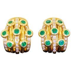 Adler 18k Gold Diamond Emerald Earrings Serail 1990 Classic Couture Clip On 26G