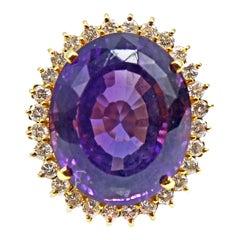 Impressive Amethyst Diamond Yellow Gold 1960s Ring