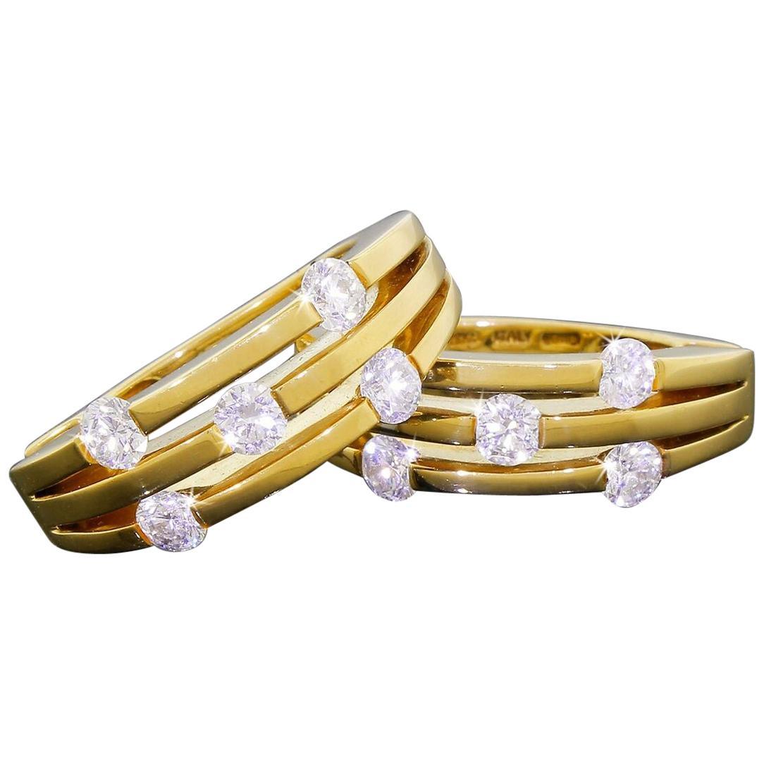 Roberto Coin 18 Karat Gold Constellation Diamond Hoop Earrings 17.3Grams 1.50TCW