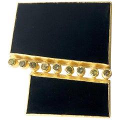 Petra Class 18 Karat Gold Onyx Contemporary Artisan Pendant Brooch