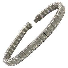 Emerald Cut Diamond Line Bracelet