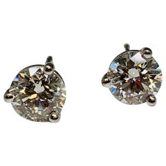 Hearts on Fire 18 Karat White Gold 1.50 Carat Total Weight Diamond Stud Earrings