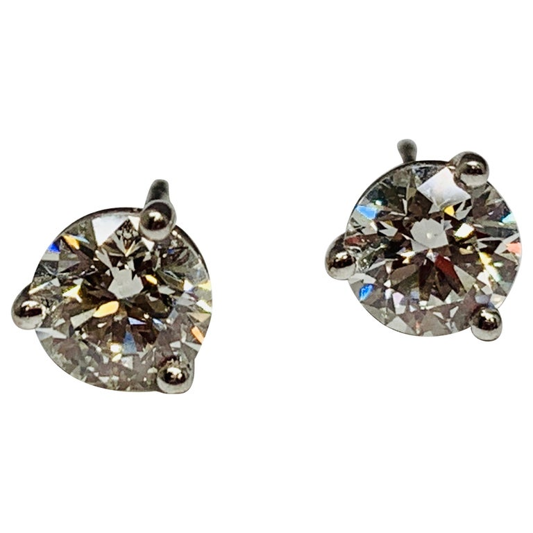 ed5014ce2 Hearts on Fire 18 Karat White Gold 1.50 Carat Total Weight Diamond Stud  Earrings For Sale