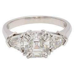Platinum 3-Stone Diamond Engagement Ring Asscher Cut Diamond