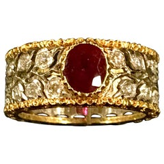 Buccellati Ring in 18 Carat Yellow Gold, White Gold, 1.20 carat Ruby, Diamonds