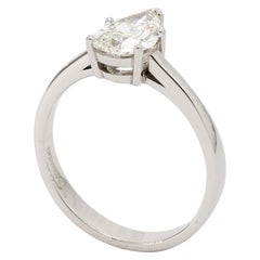 Pear Shape Diamond Solitaire Engagement Ring in Platinum