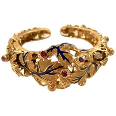 Zolotas Bracelet in 18 Karat Yellow Gold Foliage Pattern Enamel Ruby Diamonds