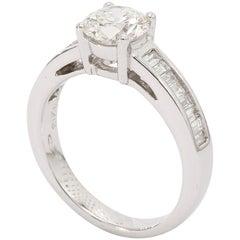 18 Karat White Gold Round Brilliant Diamond Cut, Engagement Ring