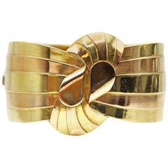 Retro French 18 Karat Yellow and Rose Gold Stripe Cuff Bangle Bracelet