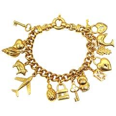 Italian Gold Curb Link Charm Bracelet