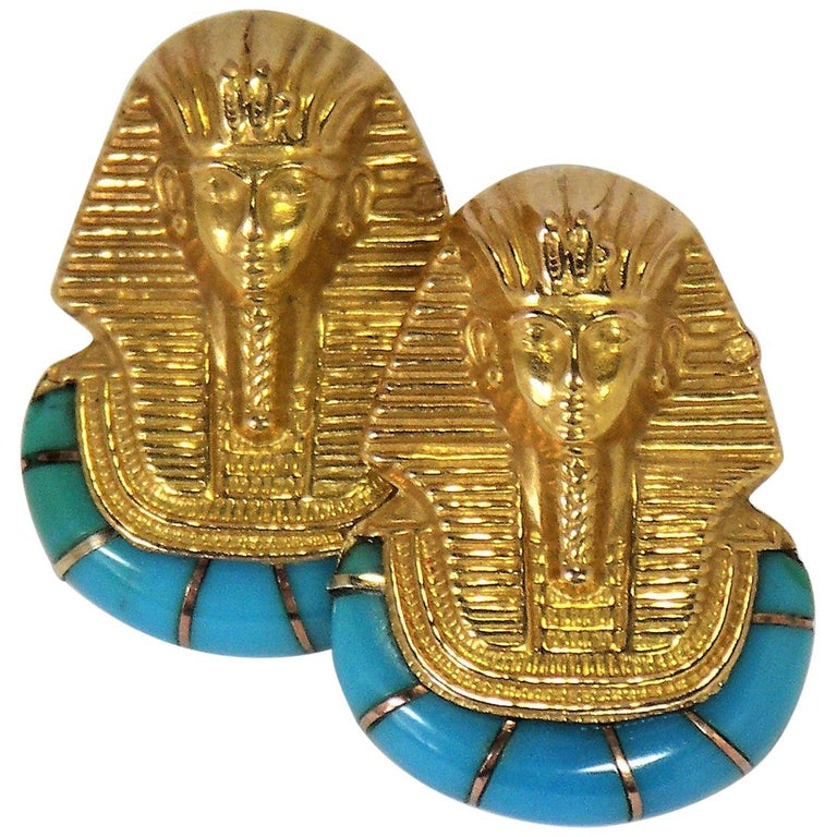 """Gold and Turquoise """"Pharaoh Motif"""" Earrings For Sale"""