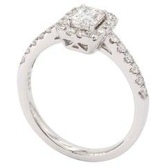 18 Karat White Gold Radiant Shape Diamond Engagement Ring